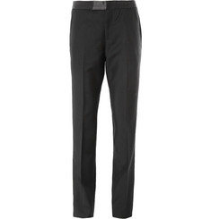 Alexander McQueen Black Regular-Fit Wool and Mohair Tuxedo Trousers