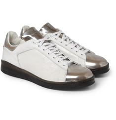 Alexander McQueen Panelled Metallic Leather Sneakers