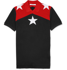 Givenchy Cuban-Fit Star-Embroidered Cotton-Piqué Polo Shirt