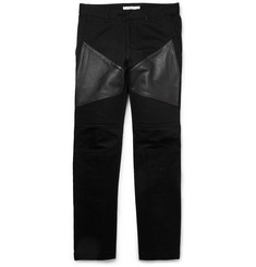 Givenchy Leather-Trimmed Panelled Dry-Denim Jeans