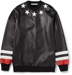 Givenchy Black Star Detail Leather Sweatshirt with Jersey Back
