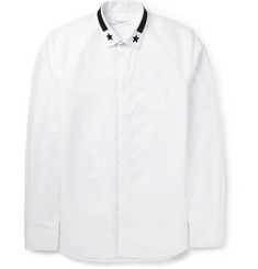 Givenchy Slim-Fit Star-Embroidered Collar Cotton Shirt