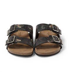 Givenchy Butterfly-Print Leather Sandals