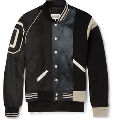 Maison Margiela Satin-Panelled Cotton-Twill Varsity Jacket
