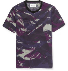 Maison Margiela Resin-Coated Camouflage-Print Cotton T-Shirt