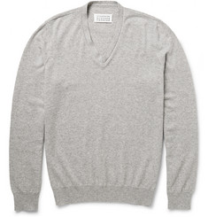 Maison Margiela Suede Elbow Patch Cotton and Wool-Blend Sweater