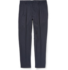 Maison Margiela Slim-Fit Pleated Cotton and Silk-Blend Trousers