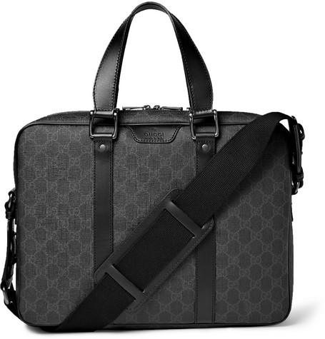 gucci male gucci gg suprema leathertrimmed coated canvas briefcase black