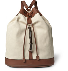 Gucci Bamboo-Trimmed Canvas Rucksack