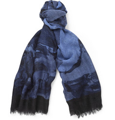 Gucci Printed Slubbed Silk and Wool-Blend Scarf