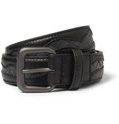 Bottega Veneta 3cm Intrecciato-Panelled Leather Belt