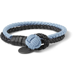 Bottega Veneta Two-Tone Intrecciato Leather Wrap Bracelet
