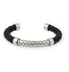 Bottega Veneta Intrecciato Leather and Silver Cuff