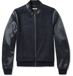 Paul Smith Satin-Panelled Wool-Twill Bomber Jacket