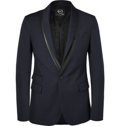 McQ Alexander McQueen Slim-Fit Faux Leather-Trimmed Wool-Blend Blazer