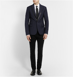 McQ Alexander McQueen Slim-Fit Faux-Leather Trimmed Wool-Blend Blazer