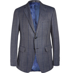 Etro Blue Slim-Fit Wool, Linen and Silk-Blend Blazer
