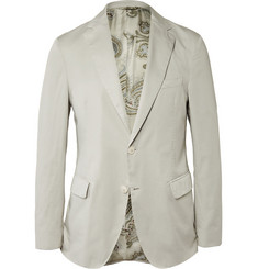Etro Slim-Fit Washed Cotton-Poplin Blazer