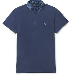 Etro Contrast-Collar Cotton-Piqué Polo Shirt