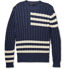 Etro Striped Cable-Knit Cotton and Cashmere-Blend Sweater