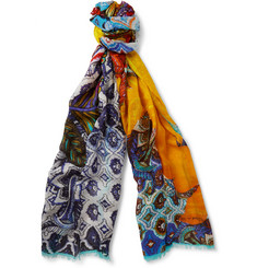 Etro Printed Modal and Linen-Blend Scarf