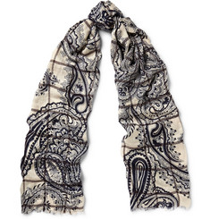 Etro Windowpane-Check and Paisley-Print Modal and Wool-Blend Scarf