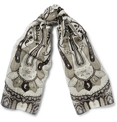 Etro Paisley-Print Linen and Silk-Blend Scarf