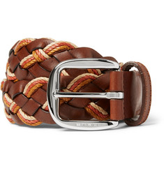 Etro 3.5cm Leather and Elasticated Woven Belt
