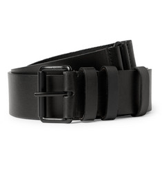 Lanvin Black 3cm Leather and Grosgrain Belt
