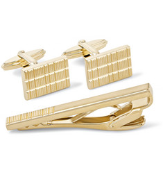 Lanvin Etched Gold-Tone Cufflinks and Tie Clip Set
