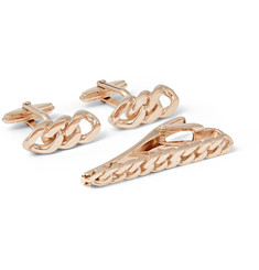 Lanvin Rose Gold-Plated Cufflinks and Tie Bar Set
