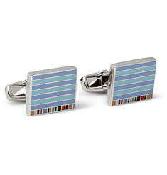 Paul Smith Shoes & Accessories Striped Silver-Tone Enamelled Cufflinks