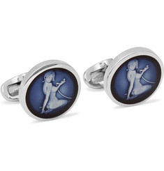 Paul Smith Shoes & Accessories Naked Lady Silver-Tone Enamelled Cufflinks
