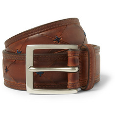 Paul Smith Shoes & Accessories Brown 3.5cm Burnished-LeatherBelt