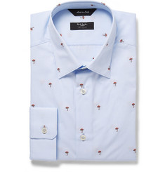 Paul Smith London Blue Embroidered Cotton Shirt