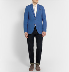 Richard James Blue Slim-Fit Unstructured Cotton-Twill Blazer