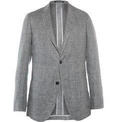 Richard James Grey Spirit Slim-Fit Unstructured Cotton and Linen-Blend Blazer