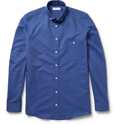 Richard James Button-Down Collar Linen and Cotton-Blend Pinstripe Shirt