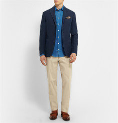 Richard James Polka-Dot Cotton and Linen-Blend Shirt