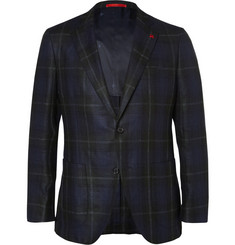 Isaia Navy Checked Silk, Linen and Wool-Blend Blazer