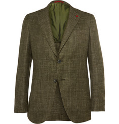 Isaia Green Silk, Linen, Cashmere and Wool-Blend Blazer