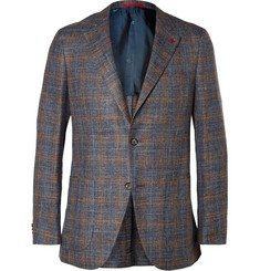 Isaia Blue Checked Linen, Wool and Silk-Blend Blazer