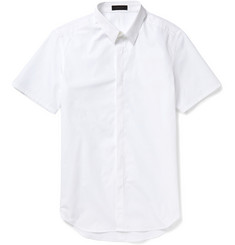 Calvin Klein Collection Carbon Short-Sleeved Cotton-Poplin Shirt