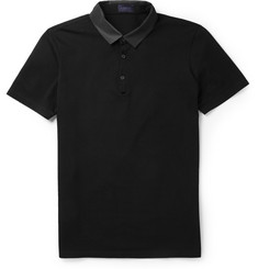 Lanvin Grosgrain-Collar Cotton Polo Shirt