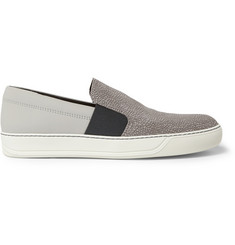 Lanvin Cracked Leather Slip-On Sneakers
