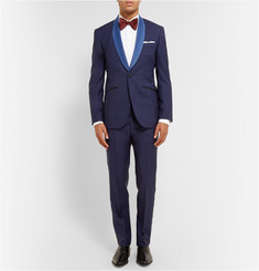 Hardy Amies Navy Slim-Fit Contrast-Trimmed Wool-Blend Tuxedo