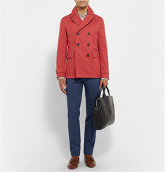 Hardy Amies Leather-Trimmed Cotton-Canvas Peacoat