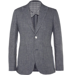 Hardy Amies Navy Prince Of Wales Check Linen and Wool-Blend Blazer