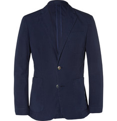 Hardy Amies Navy Slim-Fit Unstructured Stretch-Cotton Jacket