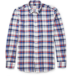 Hardy Amies Button-Down Collar Checked Brushed-Cotton Shirt